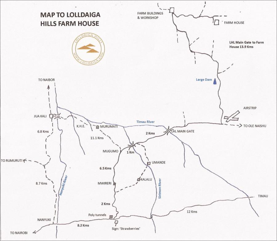Route from Nanyuki to Lolldaiga Hills Farm House